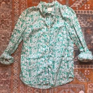 Penguin pattern green button down, size XS